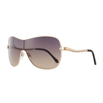 Etched Metal Aviator Sunglasses, Rose Golden - Roberto Cavalli - Rosegold/Smoke
