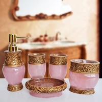 Resin Bathroom Accessories Set 5Pcs Toothbrush Holder Lotion Dispenser Soap birthday wedding gift Home decoration