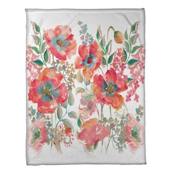 Bohemian Poppies Fleece Throw