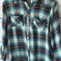 3/4 Sleeve Blue Plaid Button Down Shirt
