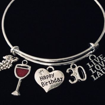Live Love Laugh Happy 30th Birthday Jewelry Expandable Charm Bracelet Silver Adjustable Bangle One Size Fits All Gift