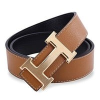 worldwide shipping! leather hermes belt Brown&gold h Buckle reversible Men Women