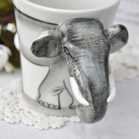 Novelty Handpainted Elephant Ceramic Cup