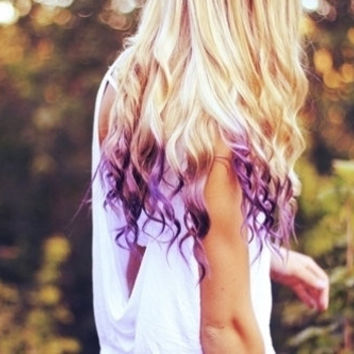 Platinum Blonde & Purple Dip Dyed Ombre Hair Extensions
