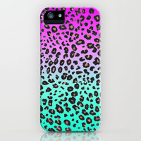 TEAL & PINK LEOPARD  iPhone Case by nataliesales | Society6