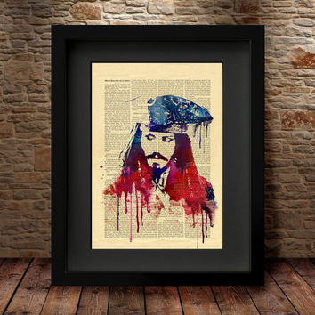 Jack Sparrow, Jack Sparrow Watercolor, Jack Sparrow Poster, Watercolor Print, Jack Sparrow Poster, Celebrity Portraits Wall Decor -58