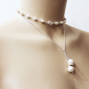 Pearl Lariat Necklace, Sterling Silver, Swarovski Crystal, Mother of Pearl Necklace