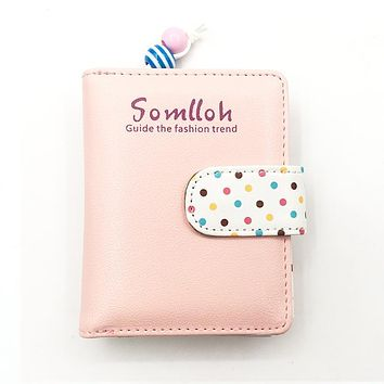 Short Candy Color Dots Hasp Women Wallet For Credit ID Card Holder Zipper PU Leather Female Purse Designer Small Lady Day Clutch