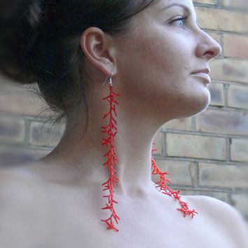 Extra Long Earrings. Long Red Earrings. Shoulder Dusters. Beadwork
