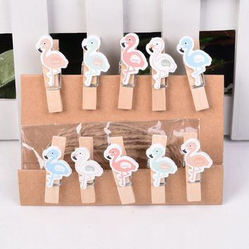 10 pcs/lot Flamingo Wooden Clip with Hemp Rope Photo paper Clothespin Craft Clips Party Decoration Clip