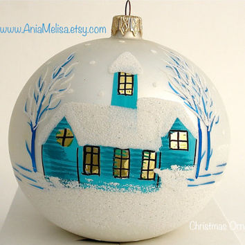 Christmas ornaments hand painted glass ball winter snow-covered landscape turquoise church Christmas Ornaments