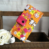 Snoopy floral print folded wallet, coin pouch, card slots, bill slots