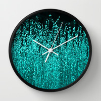 Grasses Aqua 2 Wall Clock by Veronica Ventress