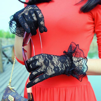 Fashion Sexy Women Bridal Evening Wedding Party Prom Driving Costume Lace Gloves = 1958071172