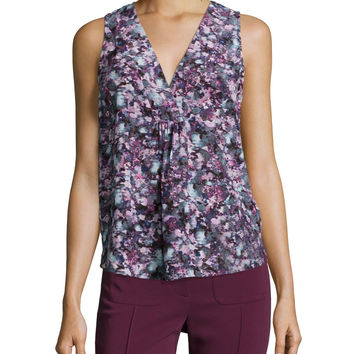 Forest Trail Sleeveless Pleated Silk Top, Purple/Multicolor, Size: