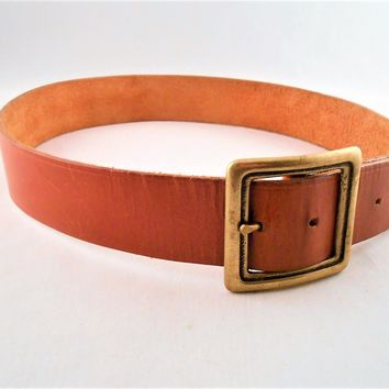 Brown Leather Catherine Dial Easley Belt  Solid Brass Buckle Size 34
