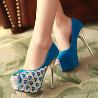 Fashion waterproof fish mouth high-heeled shoes