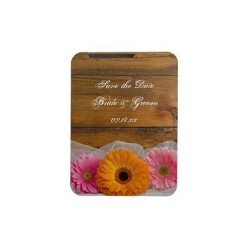 Daisy Trio Country Wedding Save the Date Magnet from Zazzle.com