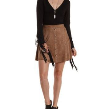 Black Long Sleeve Fringe Bodysuit by Charlotte Russe