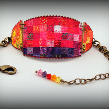 Quilt bracelet - Quilt jewelry - Quilt hobby jewelry - Yellow - Orange - Red - Pink - Purple - Lavender - Cuff Bracelet - Shrink Plastic Art