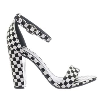 Frenzy78 Chunky Block High Heel Dress Sandal w Ankle Strap In Checkereboard