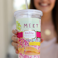 Lilly Pulitzer Reusable Cold Drink Tumbler - Meet Me At the Beach