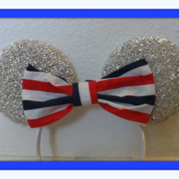 Minnie Mouse ears headband Silver Sparkle ears american flag Bow Mickey Mouse Ears, Disneyland, Disney World