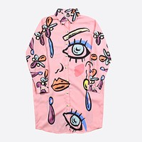APRIL Over-sized  Doodle Eye Long Sleeve T-shirt Dress