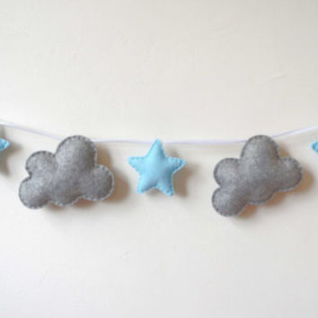 Felt Garland, Grey clouds and blue stars, Felt Bunting, Felt Banner, Wall Decor, Nursery Banner