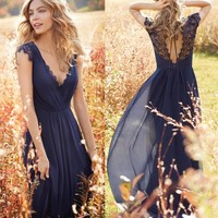 MACloth Cap Sleeves V Neck Lace Chiffon Long Bridesmaid Dress Dark Navy Evening Gown