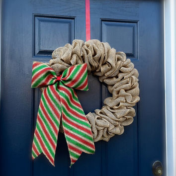 Burlap Christmas Wreath Red Green Holiday Wreaths Burlap Decor Stripes Red Green Bow