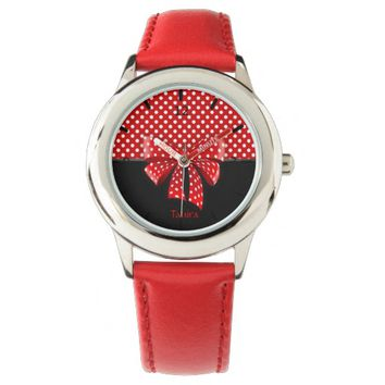 Black, Red and White Polka Dots Ribbon Wristwatches