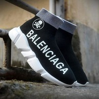 Balenciaga new tide brand men and women models breathable and comfortable high-top socks shoes