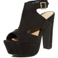 Black High Vamp Cut Out Platform Heels