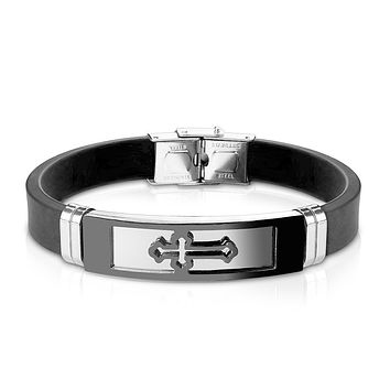 Faith - Men's Silicon Bracelet With Cross Embossed Stainless Steel Plate