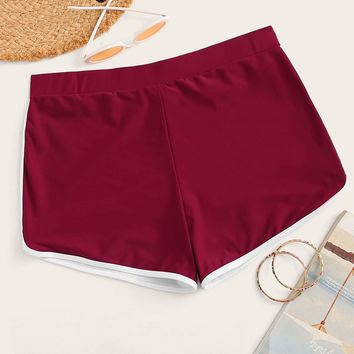 Plus Contrast Binding Swimming Shorts