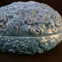 Blue Ceramic  Embossed Egg Box (292)