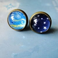 Cool Sky Stars Oil Paiting Earrings For Two