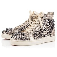 Louis Pik Pik Orlato Men's Flat Black-White Python Crystal Roccia - Men Shoes - Christian Louboutin