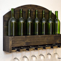 Rustic Wine Rack 7 Bottle 6 glass holder Wall Bar Liquor Cabinet Dark Ebony Wood