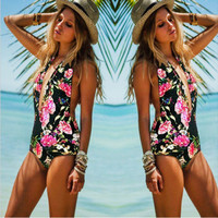 Women Floral Deep V Halter Neck Backless One Piece Swimsuit