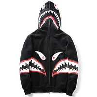 Bape 2018 autumn and winter tide brand men and women couple models loose hooded sweater coat Black