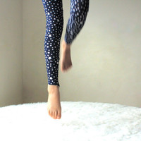Yoga Leggings Pants with Stars in Navy Blue for Girl sizes 6Months, 12Months, 2, 3, 4, 5, 6