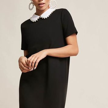 Faux Pearl-Collar Shift Dress