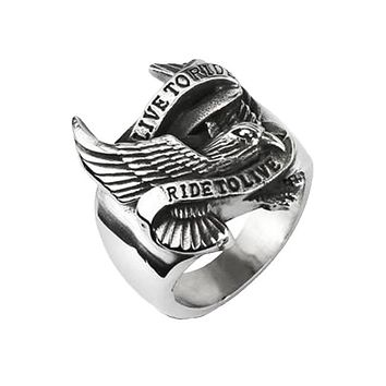Open Road Live to Ride - Silver Eagle Carved Live To Ride To Live Biker Slogan Stainless Steel Band