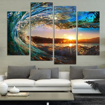 4 pcs Modern Seascape Painting Canvas Art HD Sea wave Landscape Wall Picture For halloween Decoration Bed Room picture Unframed