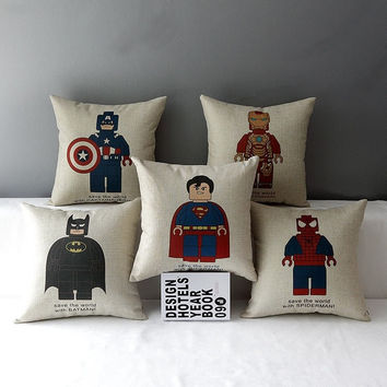 42cm * 42cm Linen Cotton Captain America Spideman Superman Batman Ironman Throw Pillow Case Cushion Cover(5Pcs) = 1946028996