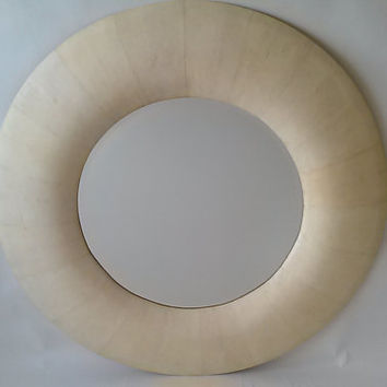 KARL SPRINGER= Vintage, Mid Century Modern 48'' Round Karl Springer Mirror Covered Chagreen, Label Stating Made In The Philippines