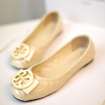Tory Burch Fashion Women Leisure Metal Round Buckle Bowknot Flat Single Shoes Beige I12996-1