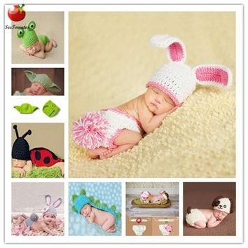 0-6month Baby Crochet Photography Props Shoot Newborn Photo Cool Boy Costumes Infant Beanies And Pants Clothing Set Soft Rabbit